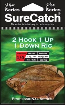 Sure Catch Pro Series 2 Hook, 1 Up, 1 Down Rig (60lb Main Line)