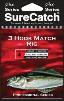 Sure Catch Pro Series 3 Hook Match Rig (60lb Main Line)