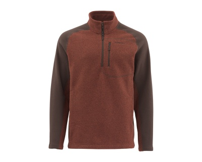 Simms Rivershed Sweater-Quarter Zip - Rusty Red